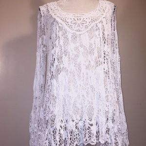 Bella Amore Italy Tops - Bella Amore Italy Tunic Top Lace Crocheted Stretch